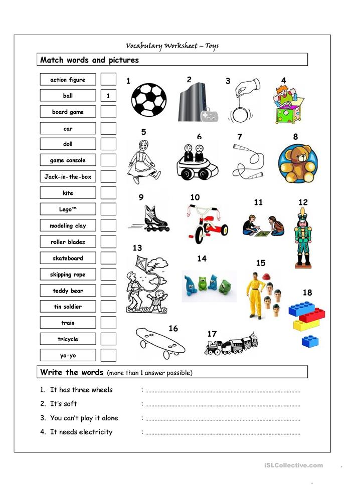 Vocabulary Matching Worksheet - TOYS - ESL worksheets