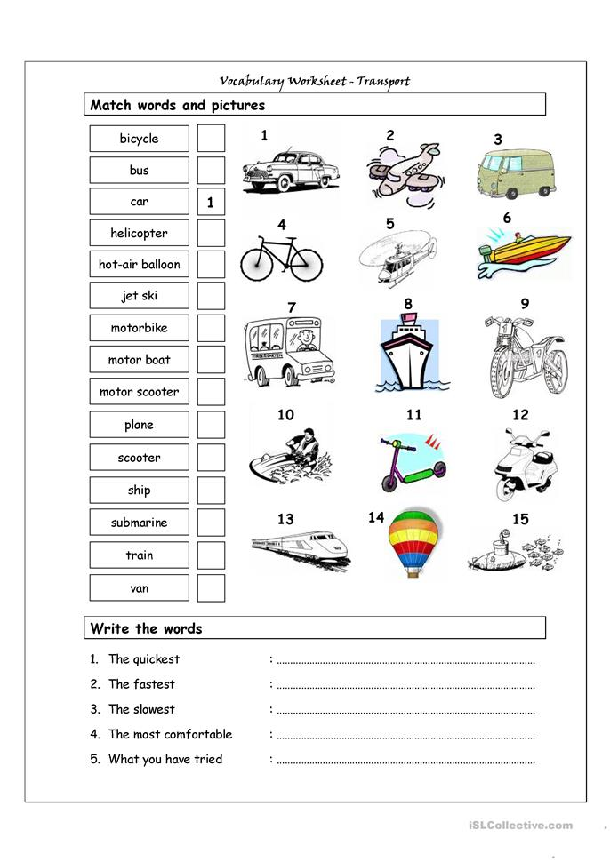Vocabulary Matching Worksheet - Transport - ESL worksheets