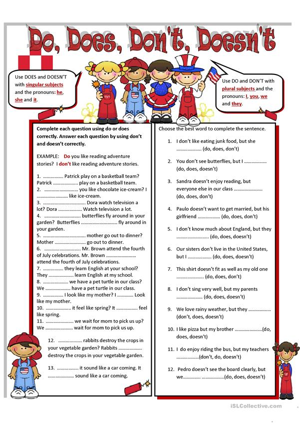 Do , Does, Don't Doesn't - English ESL Worksheets For Distance Learning And  Physical Classrooms