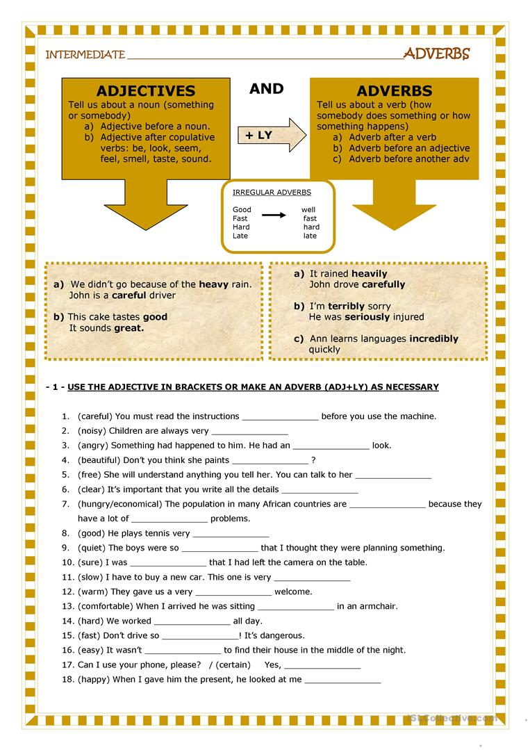 worksheet Adjective Or Adverb Worksheet adjectives and adverbs worksheet free esl printable worksheets full screen
