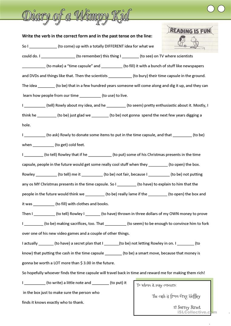 {11 FREE ESL Wimpy kid worksheets – Diary of a Wimpy Kid Worksheets