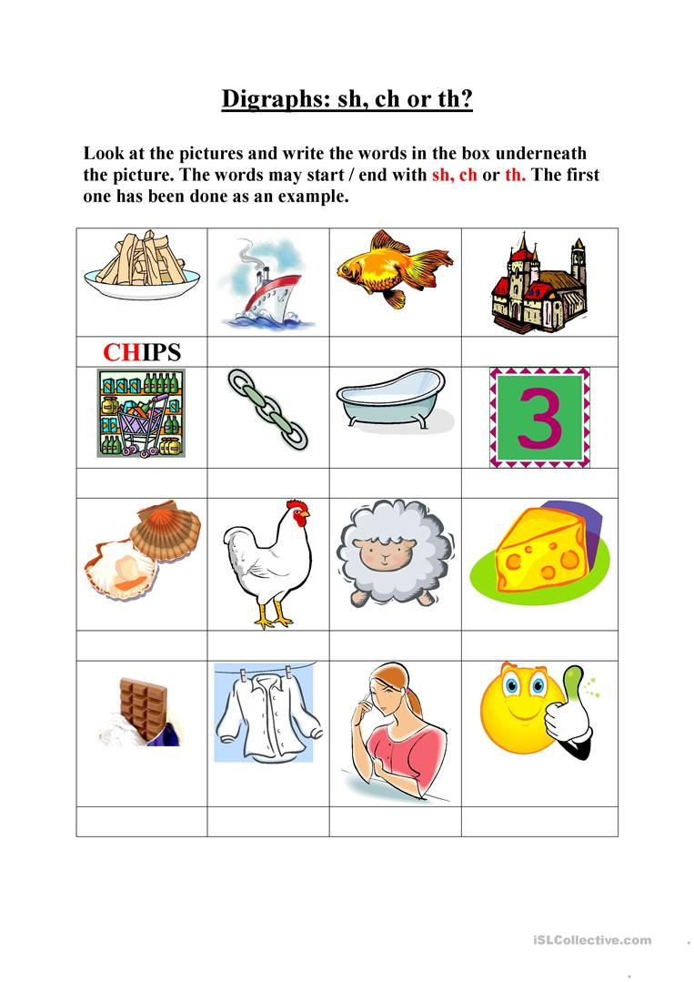 worksheet Ch Worksheet 11 free esl digraphs worksheets sh ch th