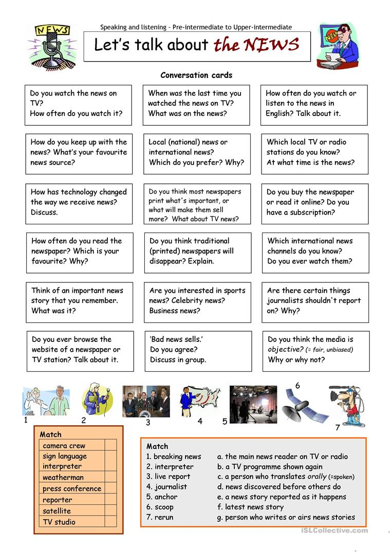 photograph relating to Free Printable Journalism Worksheets referred to as Let´s speak over the Information - English ESL Worksheets