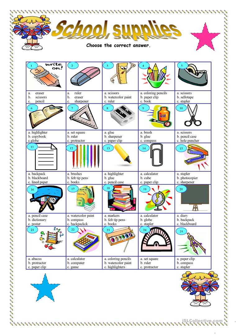 School Worksheets For Teachers : School supplies key included worksheet free esl