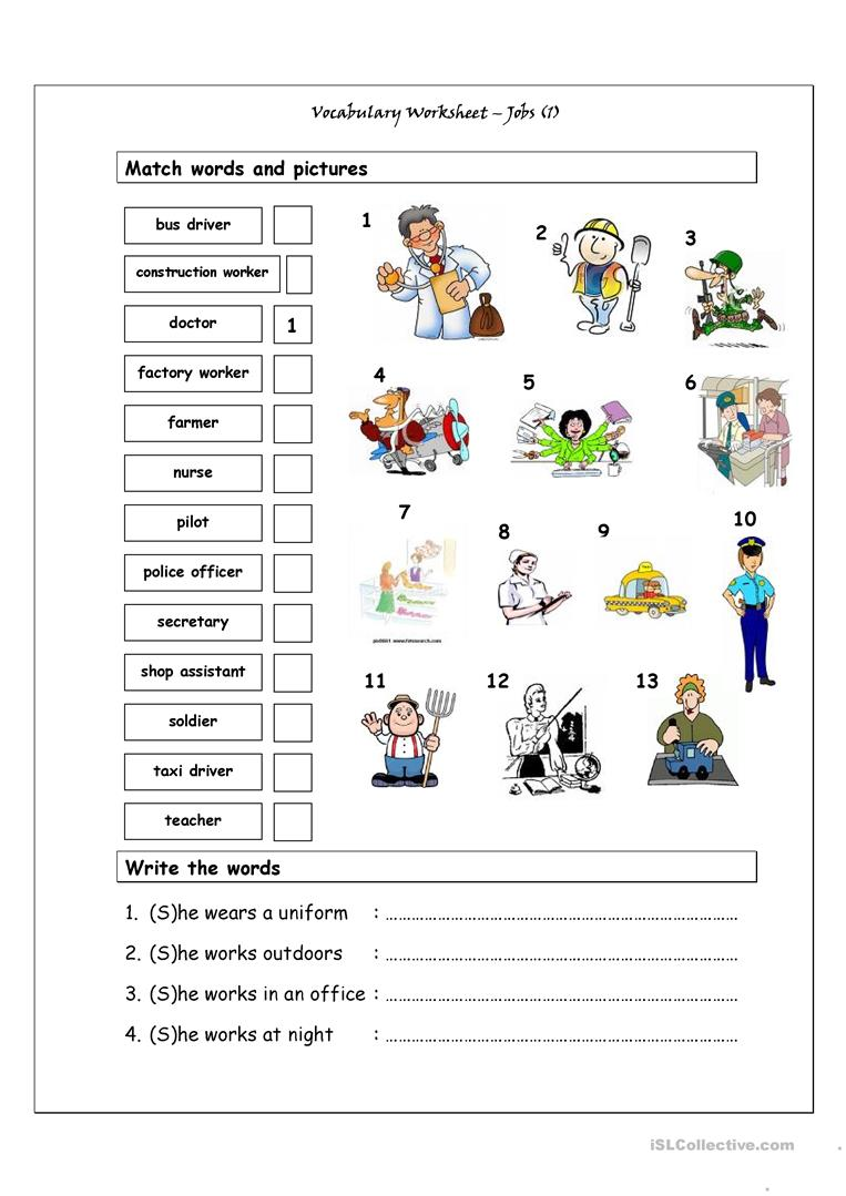 Vocabulary Matching Worksheet - Jobs (1) - English ESL ...