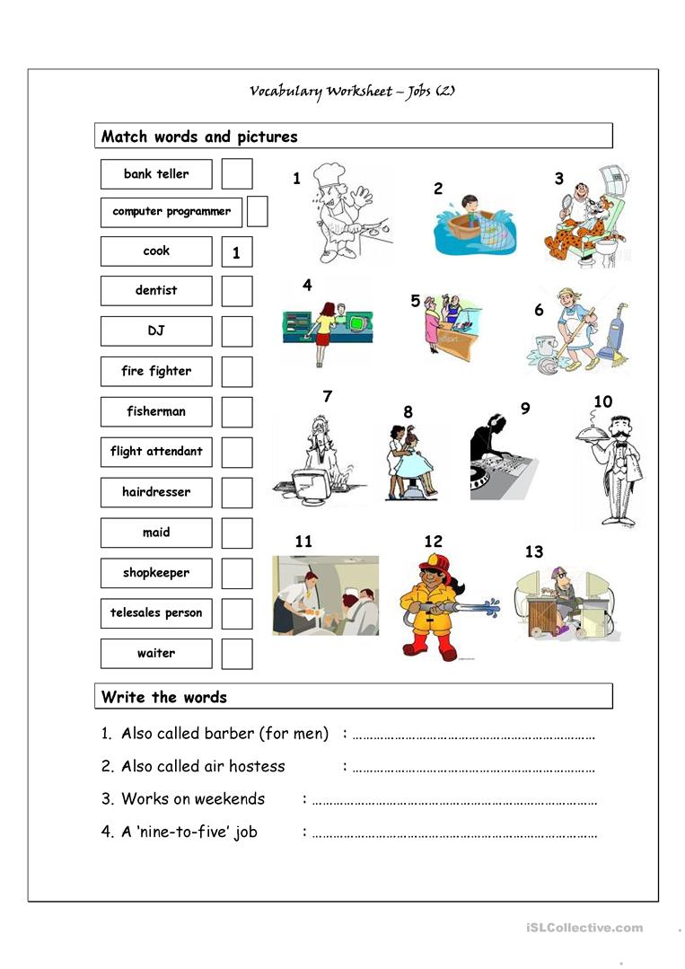 Vocabulary Matching Worksheet - Jobs (2) - English ESL ...