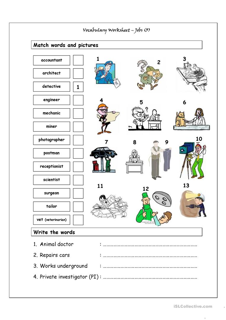 vocabulary matching worksheet jobs 3 worksheet free esl printable worksheets made by teachers. Black Bedroom Furniture Sets. Home Design Ideas