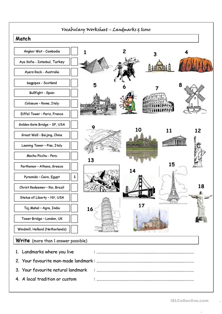 Vocabulary Matching Worksheet - Landmarks & Icons worksheet - Free ...