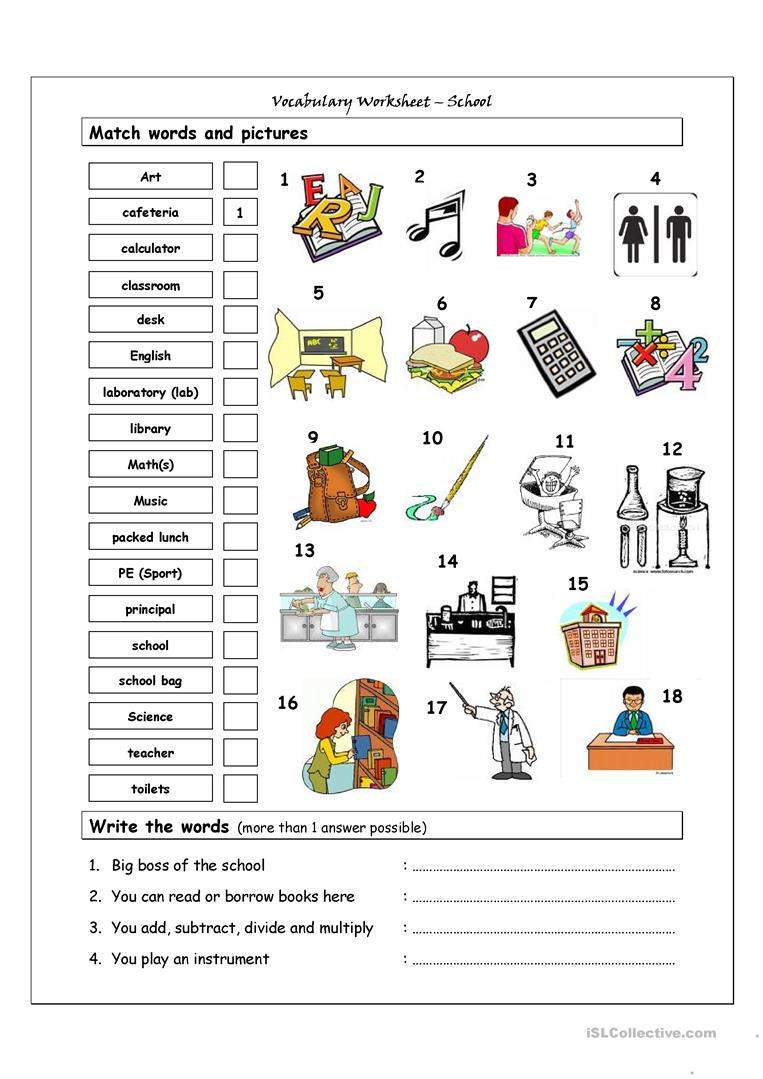 49 Free Esl School Vocabulary Worksheets