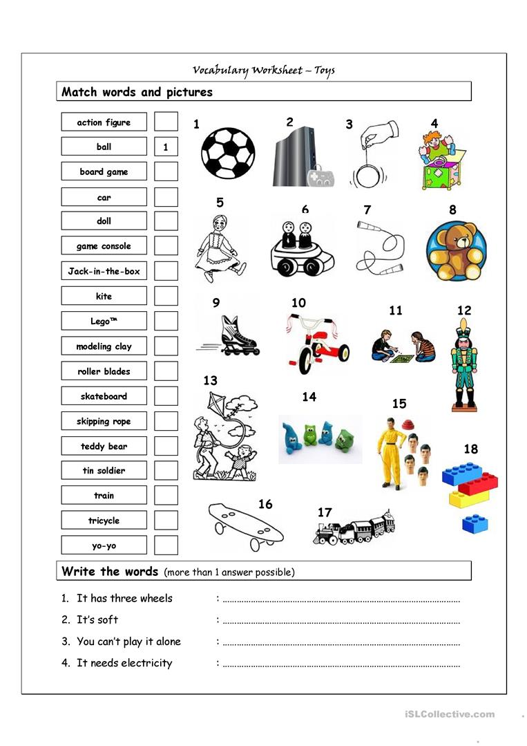 Game Toys To Practice : Vocabulary matching worksheet toys free esl