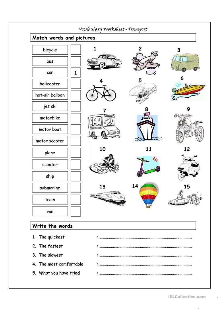vocabulary matching worksheet transport worksheet free esl printable worksheets made by teachers. Black Bedroom Furniture Sets. Home Design Ideas