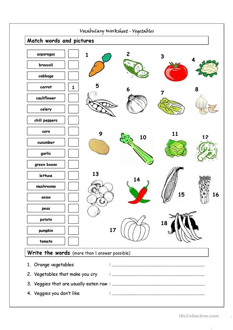 vegetables worksheet the best and most comprehensive worksheets. Black Bedroom Furniture Sets. Home Design Ideas