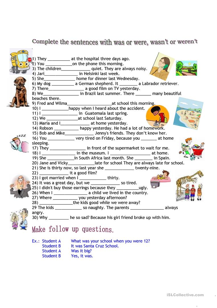 worksheet Were And Where Worksheets 214 free esl were worksheets was or were
