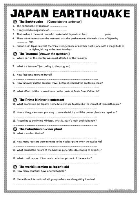 Japan Earthquake (a video activity) worksheet - Free ESL printable ...