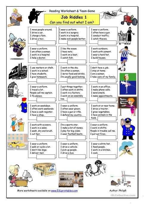 Job Riddles 1 Easy Worksheet Free Esl Printable Worksheets