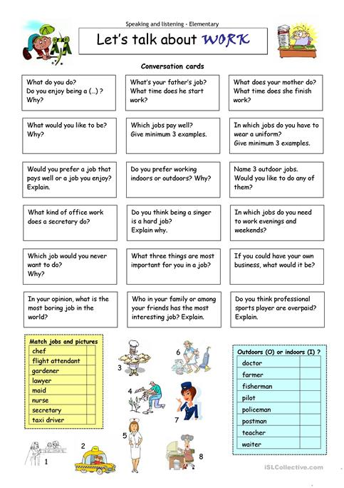 Let´s talk about WORK worksheet - Free ESL printable worksheets made ...
