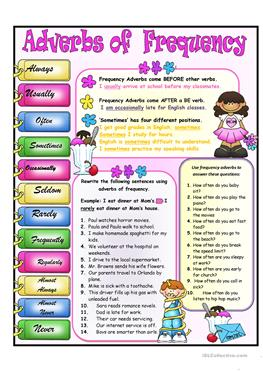160 FREE ESL frequency adverbs worksheets