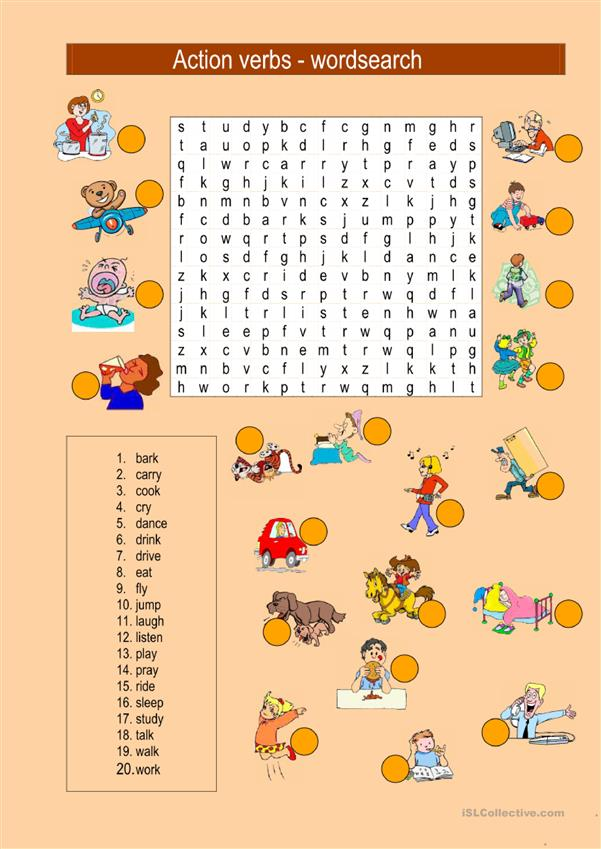 Action verbs - wordsearch