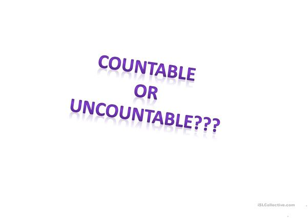 Countable Uncountable and Determiners