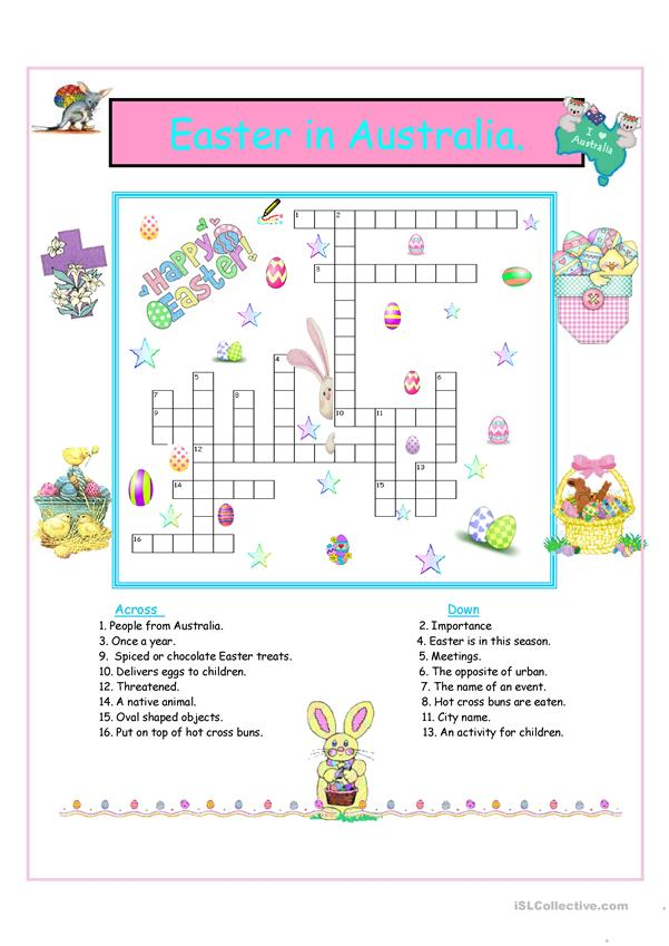 Easter in Australia Crossword