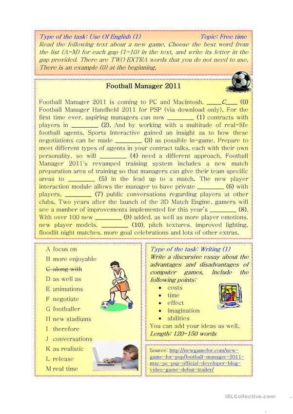 Football Manager 2011/Use of English/ Writing B2