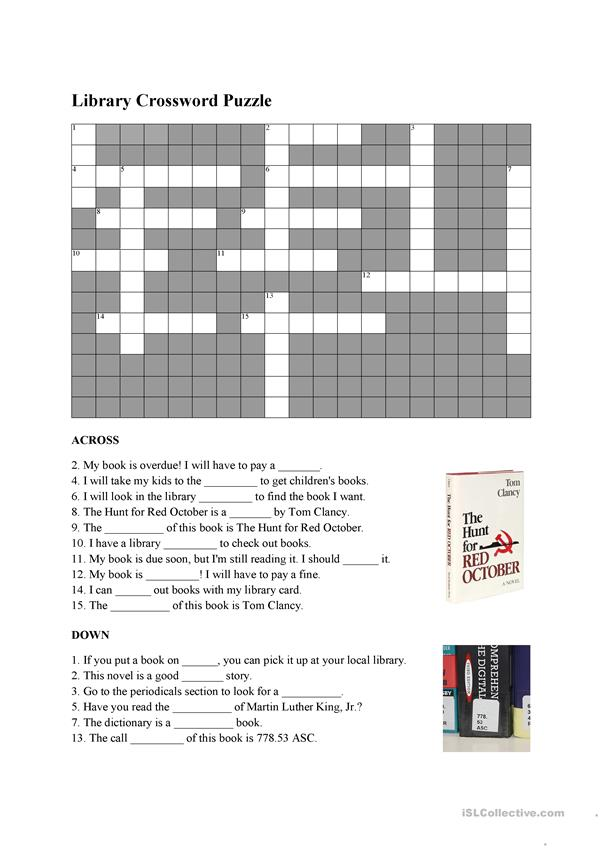 Library vocabulary crossword