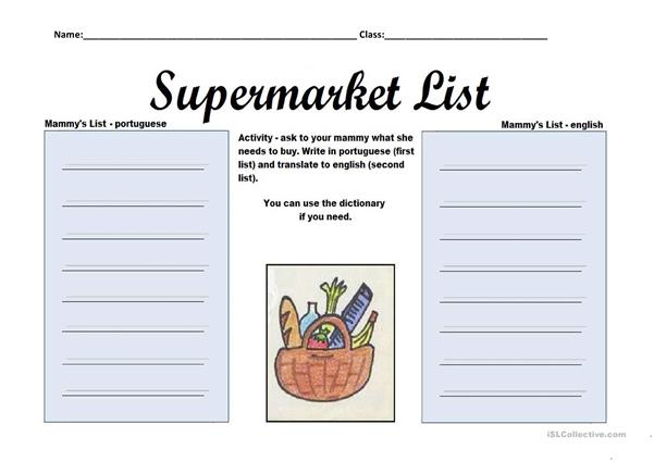 Mammy's Supermarket List!
