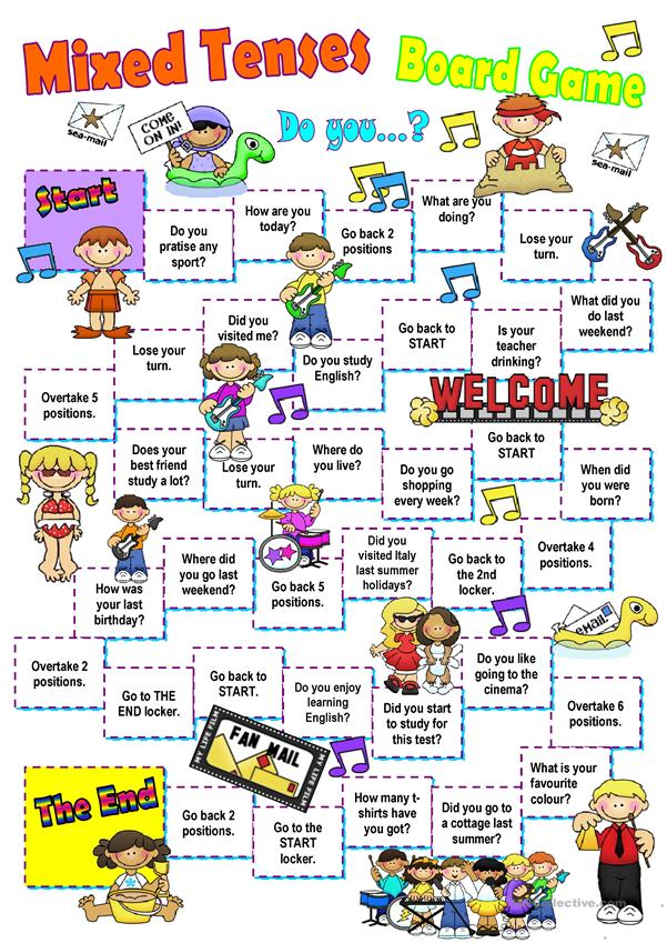 Mixed elementary tenses board game