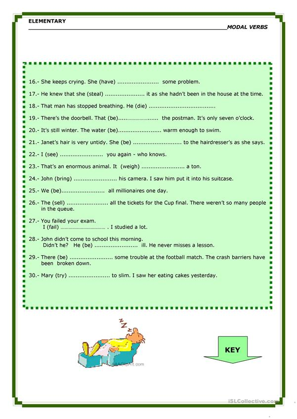 Modal Verbs: DEGREES OF CERTAI NTY - English ESL Worksheets
