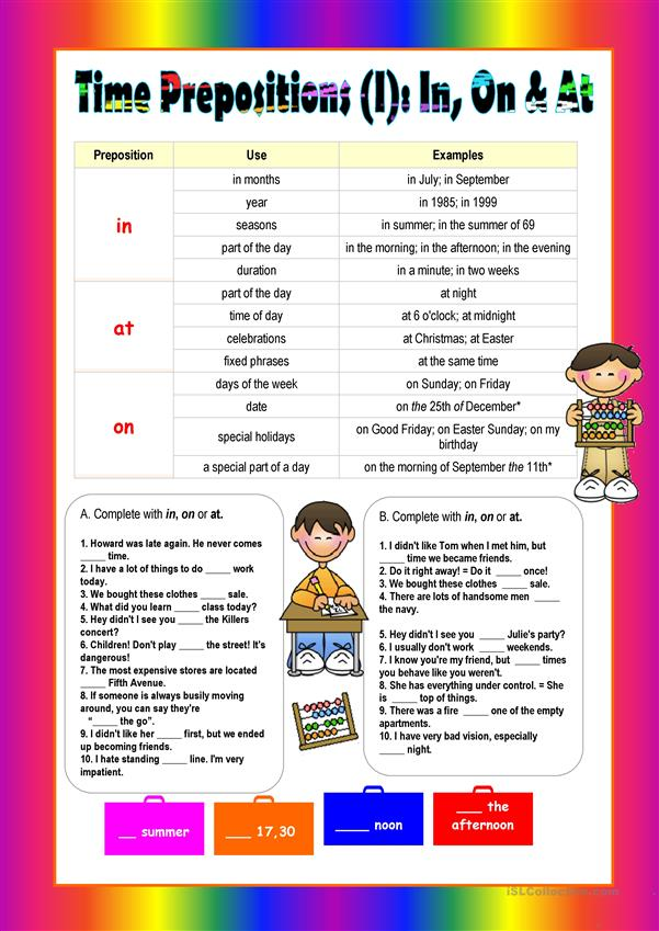 Prepositions of time: IN,ON & AT (I)