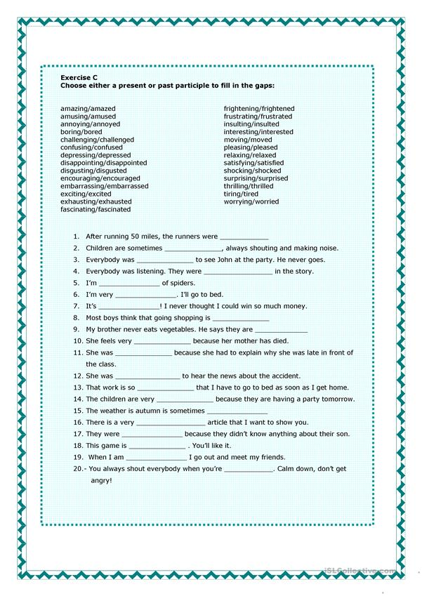 Present And Past Participles Worksheet Free Esl Printable