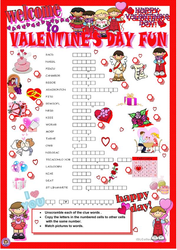 valentine's day crosswords