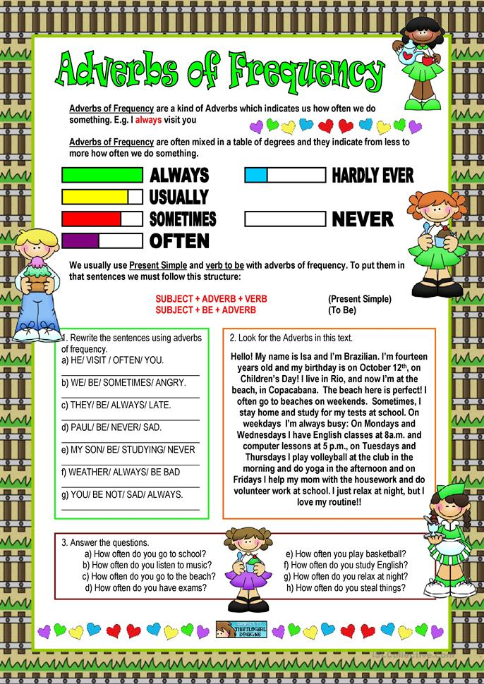 Adverbs of Frequency - ESL worksheets