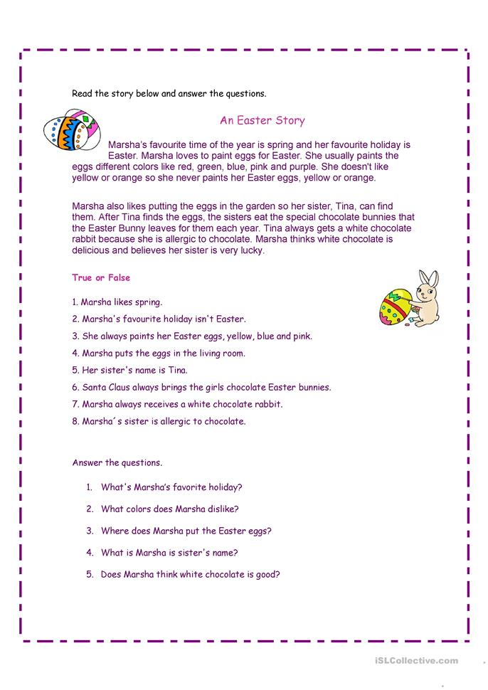 An Easter Story - ESL worksheets