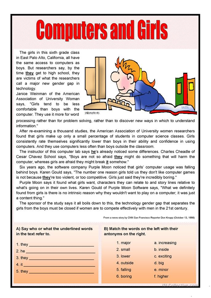 Computers and girls - ESL worksheets