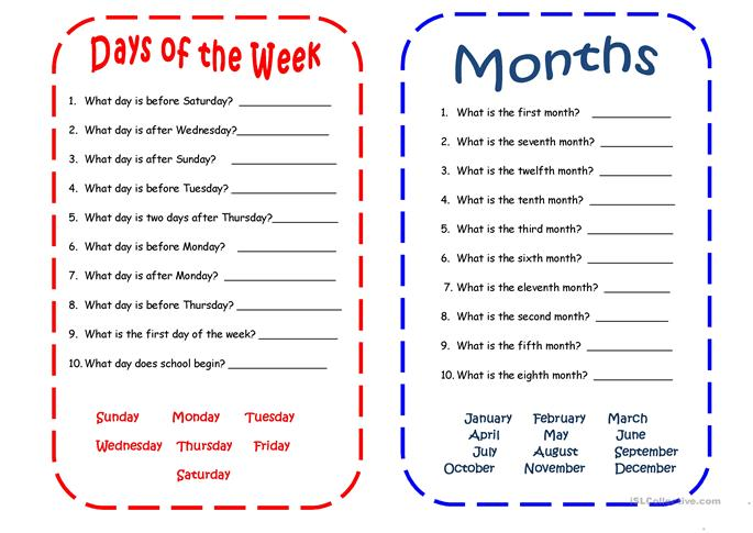 255 FREE ESL Days of the week worksheets – Months of the Year Worksheet