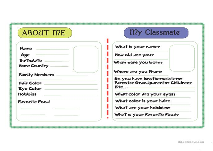 Describe Your Classmate Worksheet Free Esl Printable