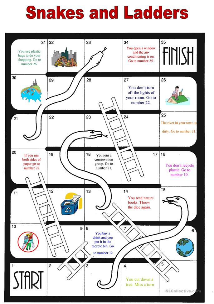 Environment boardgame - ESL worksheets