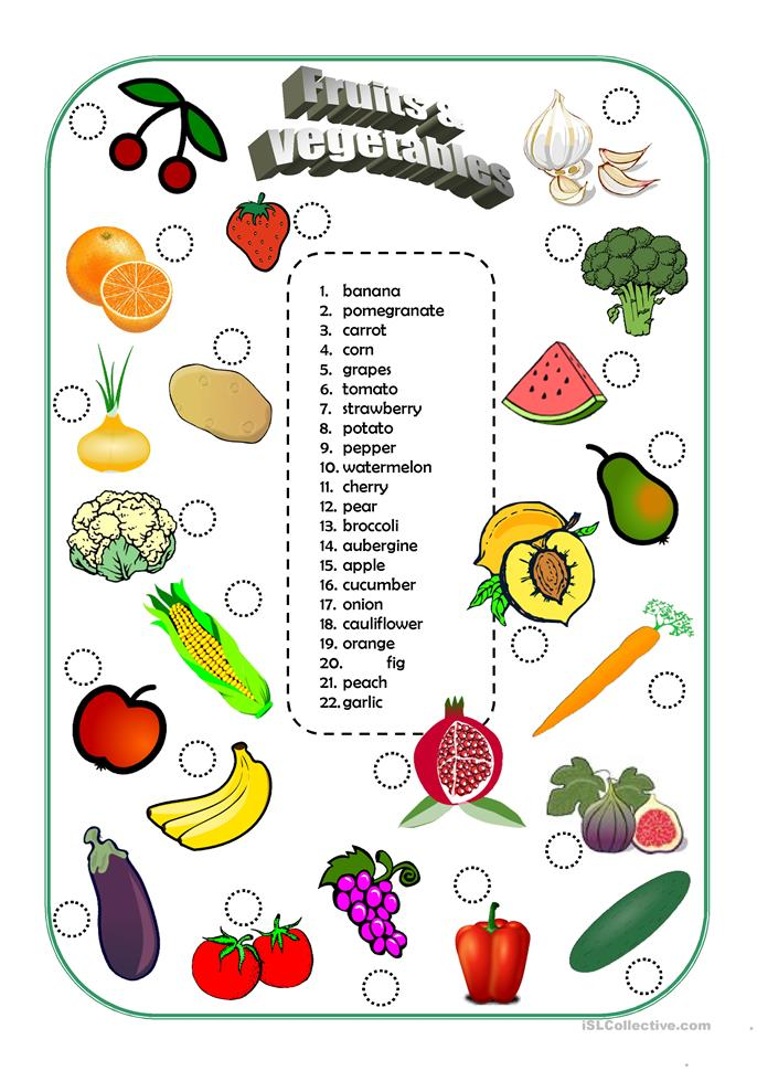 Fruits and vegetables - ESL worksheets