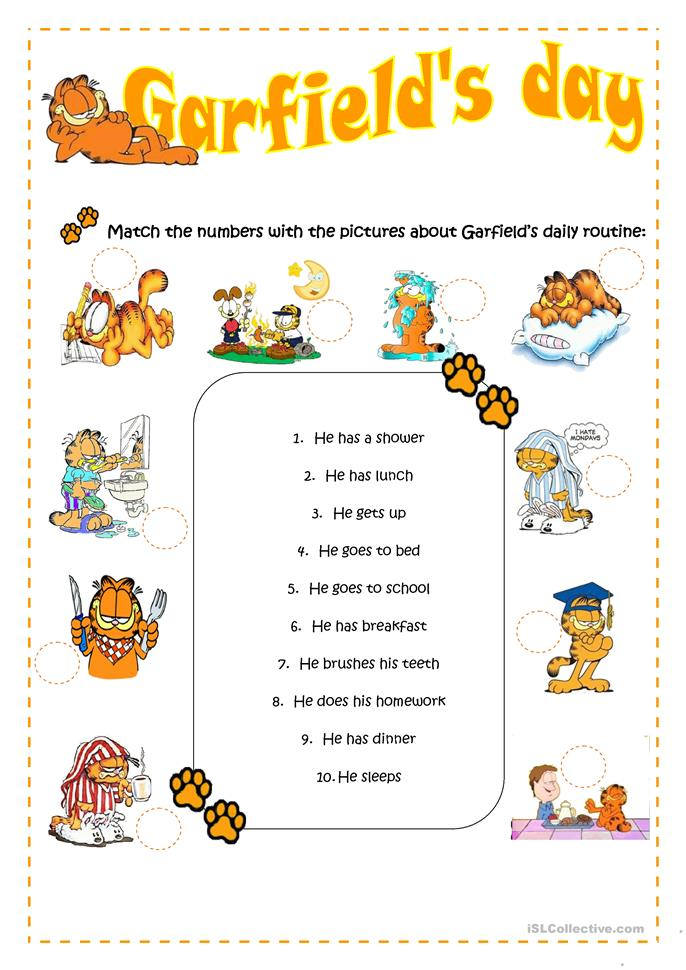 Garfield's daily routine worksheet - Free ESL printable worksheets ...