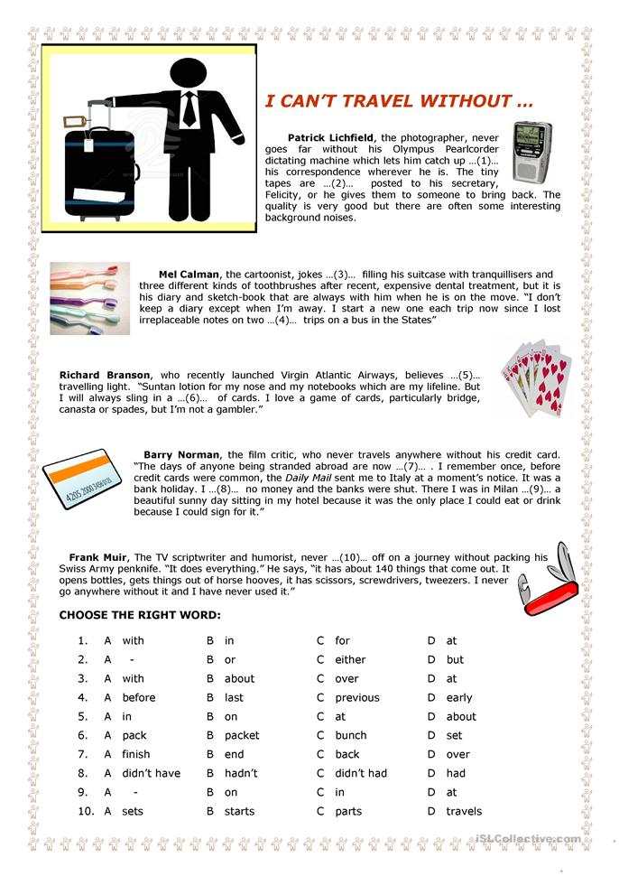 I can't travel without ... - ESL worksheets