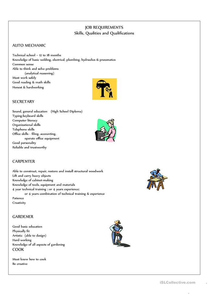 Job Requirements - ESL worksheets