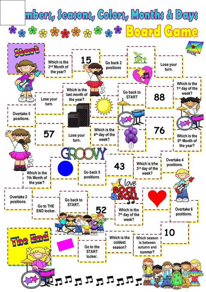 Months, days, colors and seasons board game. worksheet ...