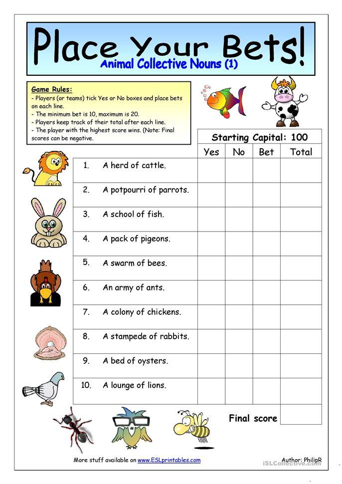 Printables Collective Nouns Worksheet 25 free esl collective nouns worksheets place your bets animal 1
