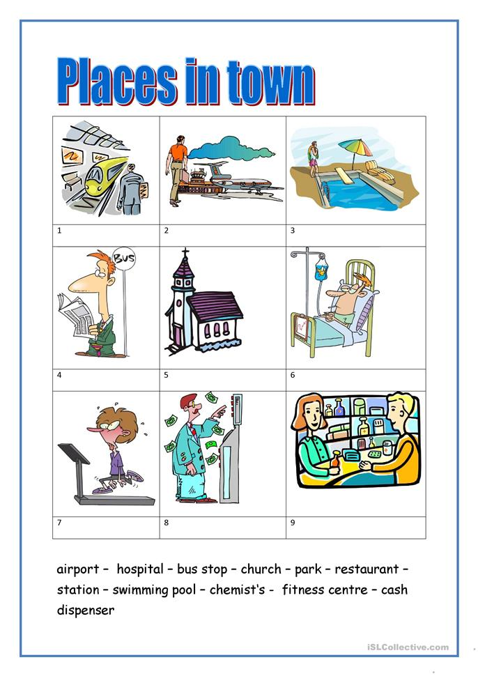 places in town 1 worksheet free esl printable worksheets made by teachers. Black Bedroom Furniture Sets. Home Design Ideas