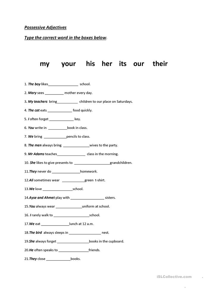 possessive adjectives - ESL worksheets
