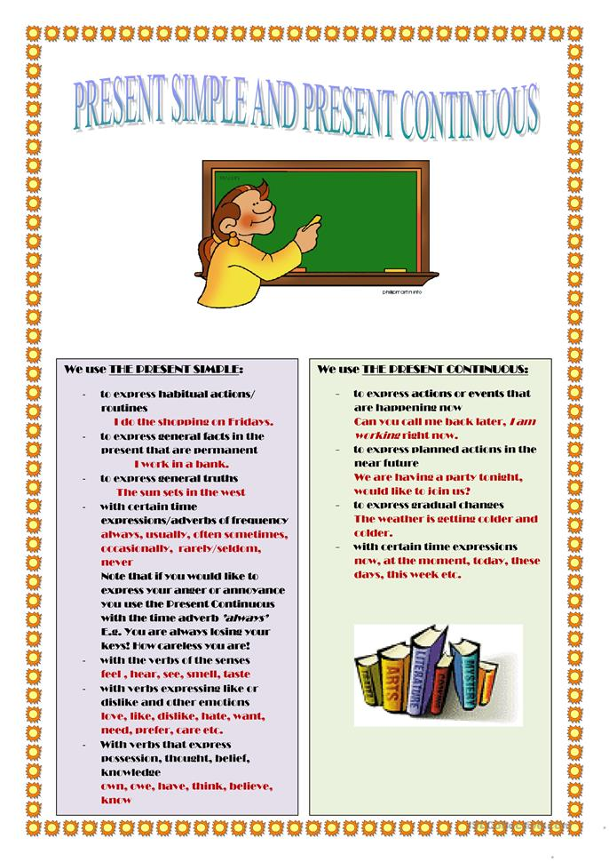 PRESENT SIMPLE AND PRESENT CONTINUOUS TENSES - ESL worksheets