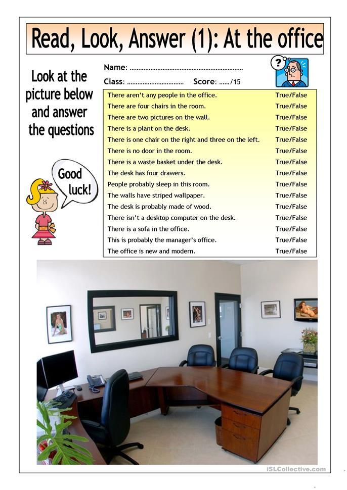 Read look answer at the office 1 worksheet free for Decor questions