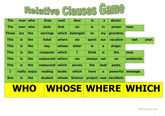 RELATIVE CLAUSE GAME - ESL worksheets