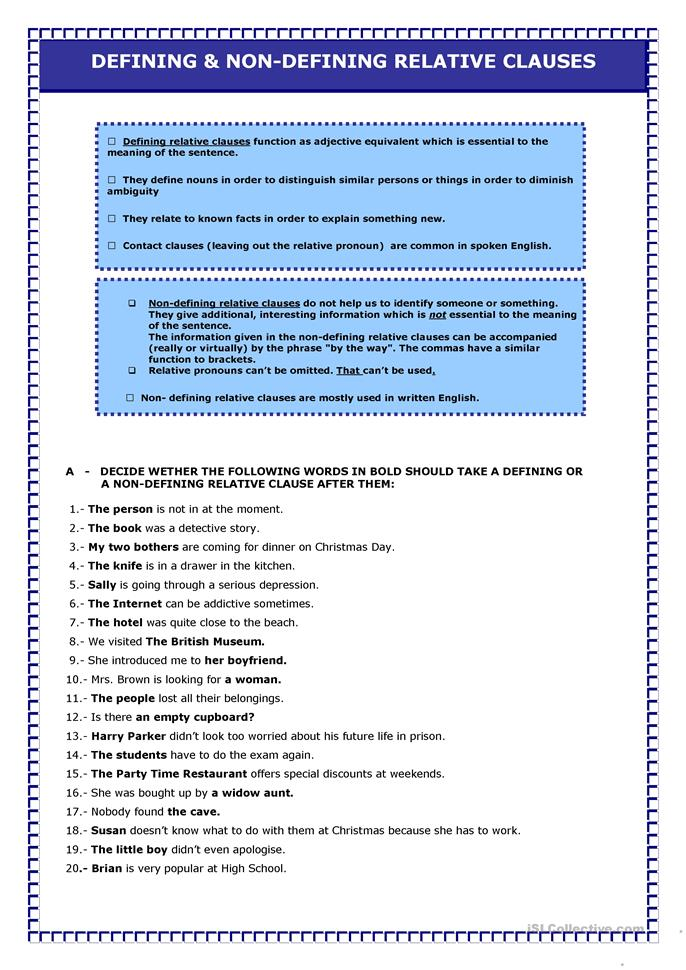 Relative Clauses - ESL worksheets